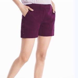 White House Black Market Twill Lace Up Shorts